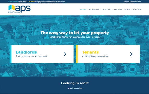 Alternative Property Services - Website Design Essex Portfolio