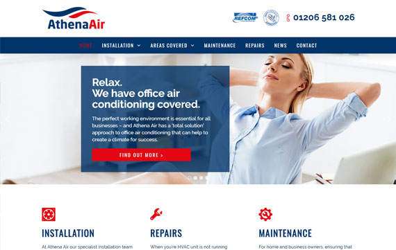 Athena Air - Website Design Essex Portfolio