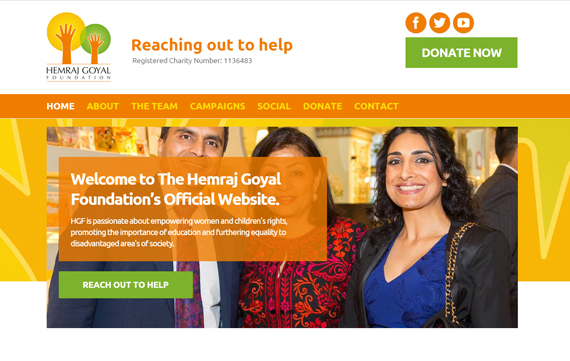 Hemraj Goyal Foundation - Website Design Essex Portfolio