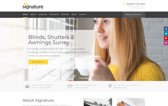 Signature Blinds & Shutters - Website Design Essex Portfolio